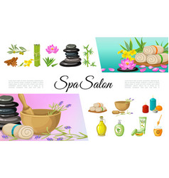 flat spa salon elements collection vector image