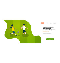 football gameplay two soccer players different vector image