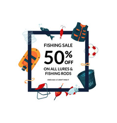 frame with cartoon fishing equipment vector image