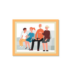 framed cartoon family portrait grandparents and vector image