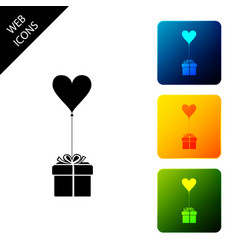 gift with balloon in shape heart icon isolated vector image