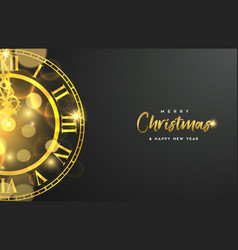 Gold christmas and new year clock greeting card vector