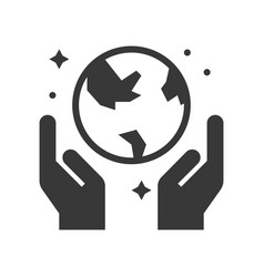 Hand and globe save the world icon vector