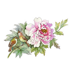 Hand drawn pink flower with birds isolated on vector
