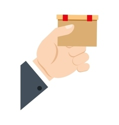 Hand holding cardboard box delivery commerce vector