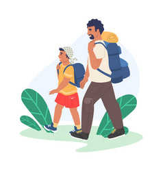 Happy father and son hiking traveling together vector