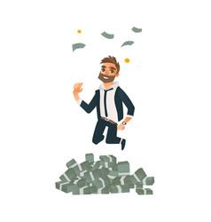 happy man businessman jumping under money rain vector image