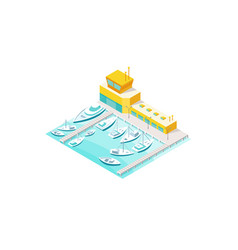 harbor sea boats and yacht pier vector image