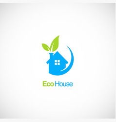 house ecology green leaf logo vector image