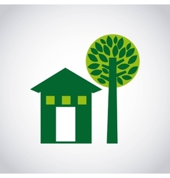 house green and tree icon vector image