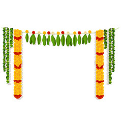 Indian garland of flowers and leaves religion vector