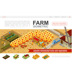 isometric farming website template vector image