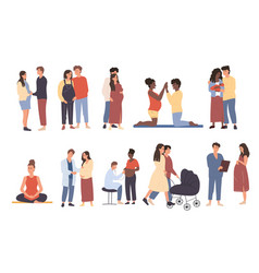 large set pregnant women and couples vector image