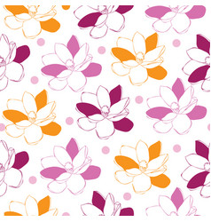 magnolia garden-flowers in bloom seamless repeat vector image