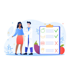 Male nutritionist is consulting patient in clinic vector