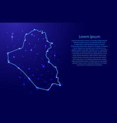 Map iraq from the contours network blue luminous vector