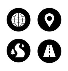 Map navigation black icons set vector image