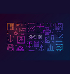Math colorful horizontal banner vector