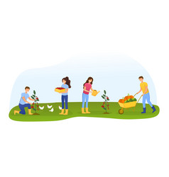 men and women farmers or gardeners planting vector image