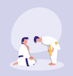 men practicing arts martial avatar character vector image