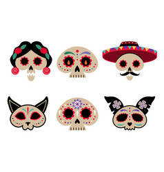 mexican day dead decorated skulls in flat vector image