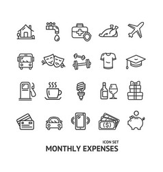 Monthly expenses signs black thin line icon set vector