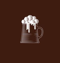 mug foam craft beer icon engraving vector image