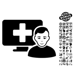 Online Medicine Flat Icon With Bonus vector