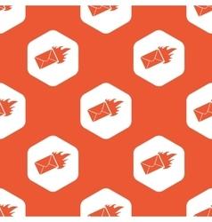 Orange hexagon burning letter pattern vector