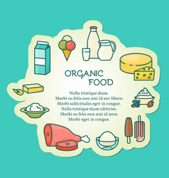 organic food in linear style vector image