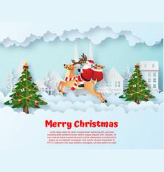origami paper art santa claus and reindeer in vector image