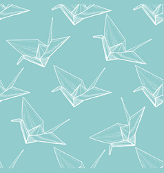 origami seamless pattern in hand-drawn style vector image