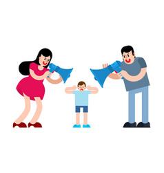 Parents shout through megaphone at child man and vector