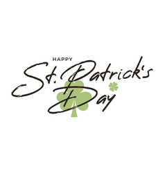 patrick day brush lettering st patricks day vector image