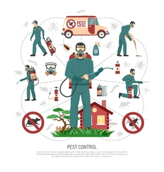 Pest Control Services Flat Infographic Poster vector