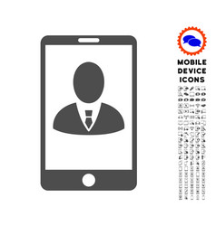 Phone customer profile icon with set vector