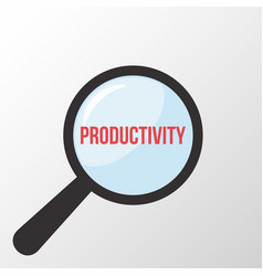 Productivity word magnifying glass vector