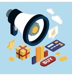 Promotion Online Marketing Flat 3d Web Isometric vector image