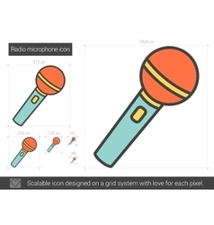 Radio microphone line icon vector