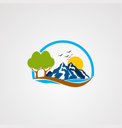rock mountain logo icon element and template for vector image