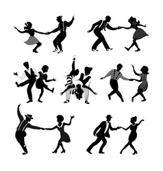 Rock n roll and jazz dancing couples set vector