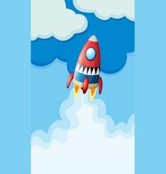 Rocket flying in the sky vector