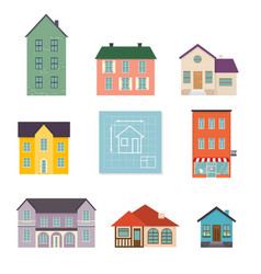 set flat house icons family house icon isolated vector image