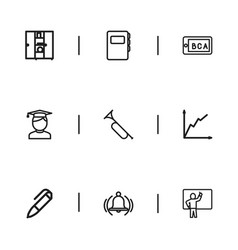 set of 9 editable teach icons includes symbols vector image vector image