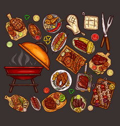 Set of elements for barbecue vector