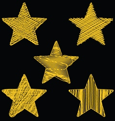 Set Of Hand Drawn Scribble Gold Stars Icon Set 2 vector image