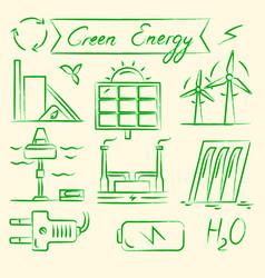 set of renewable energy hand drawn icons vector image