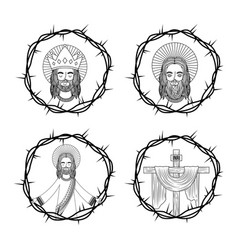 Set of sacred jesus cross with crown thorns hand vector