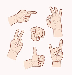 Set of various hand gestures vector