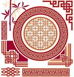 set oriental - chinese - design elements vector image